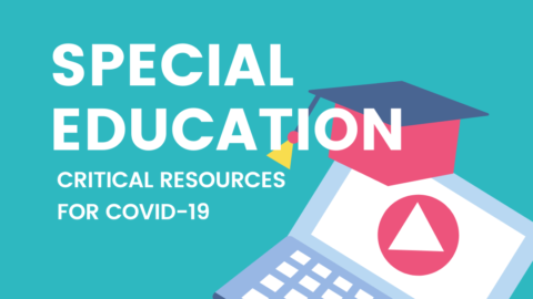 "Icon with computer and student's had says ""Special Education Critical Resources for COVID19"""