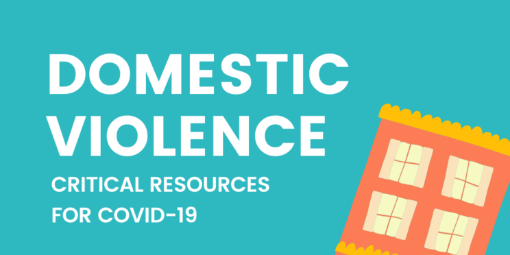 "image of house and text says ""domestic violence critical resources for COVID19"""